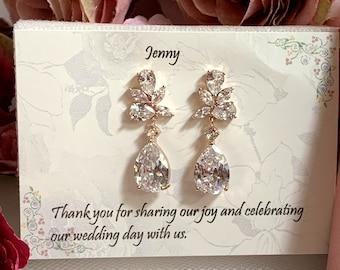 Crystal Bridal earrings, Wedding jewelry, Rose gold earrings ,Rose gold bridesmaid earrings, Bridesmaid gift,Sister Gift,Best friend gift