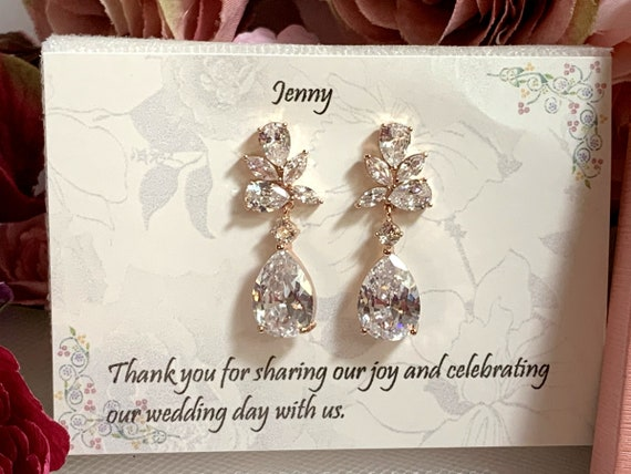 Wedding jewelry, Rose gold earrings, Crystal Bridal earrings, Rose gold bridesmaid earrings, Bridesmaid gift, Sister Gift,Best friend gift