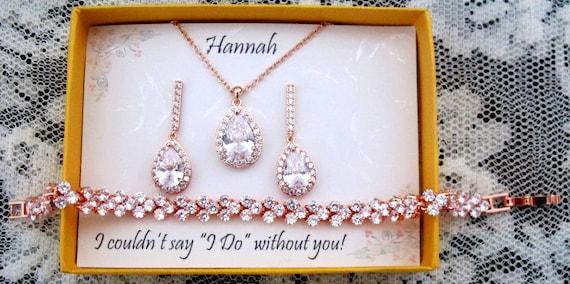 Custom Personalized CZ Bridesmaid gift,Rose Gold Wedding set,Bridesmaid Gift,Bridal Earrings,Necklace Bracelet Set,CZ Bridal party jewelry