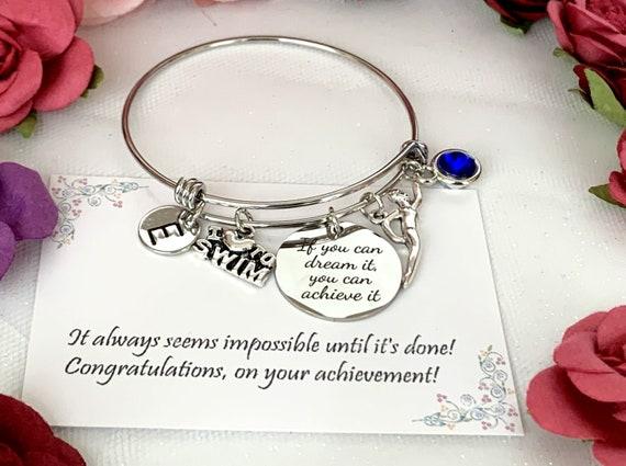 Swimming Bracelet, Swimmer Bracelet, Swim Bangle, Swim Gifts, Swimmer Gift, Gift for Swimmer.personalized sports gift,Free shipping in USA