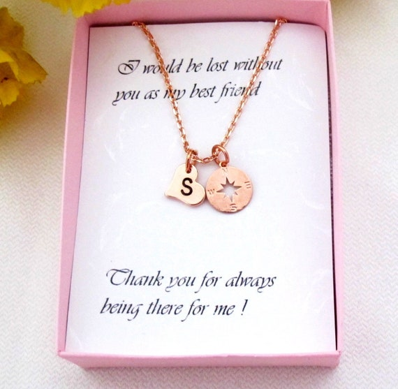Best Friend Love gifts,Girlfriend gift,Rose gold Compass Heart Necklace,Wife gift,Sister gift,Long Distance Relation gift, Free Shipping USA