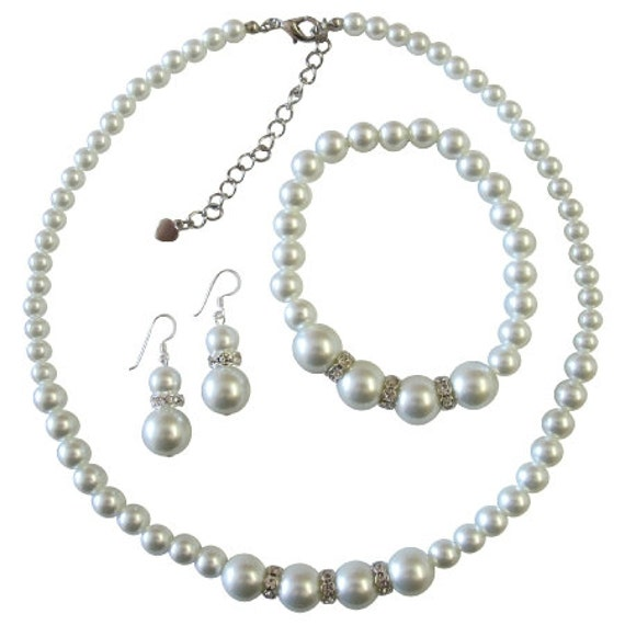 White Pearls Bridemaides Pearls Jewelry Set Necklace Sterling Silver Earring Stretchable Bracelet Free Shipping In USA