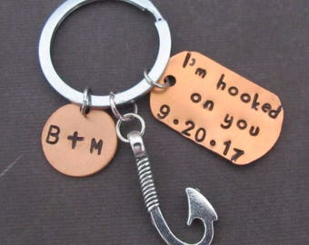 I'm Hooked On You Keychain,Fishing Keychain, Boyfriend Gift, Anniversary Gift,Date Initial Keychain,Valentine's Day Gift ,Free Shipping USA