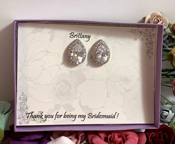 Custom Bridesmaid gifts, Personalized bridesmaid earrings, Bridal wedding earrings, Tear drop earrings,Bridesmaid Jewelry Message Gift Box,