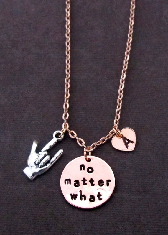 No Matter What Necklace,no matter where,Rose Gold Initial necklace,Rose jewelry ,I love you necklace,friendship necklace,Free shipping USA