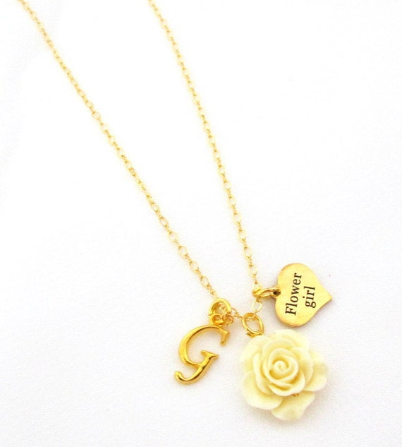 Thank You For Being Our Flower Girl,Flower Girl Necklace,Flower girl Gift,Flower girl jewelry,Gold Necklace,Wedding Gift, Free Shipping USA