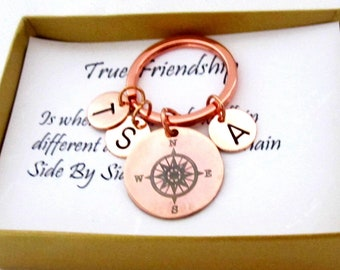 Friendship Keychain,Best friends forever Jewelry,Friends gift,Compass keychain, 3 Best Friends gift,Sisters gift,Bff gift, Free Shipping USA