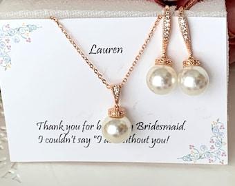 Pearl dangle Bridesmaid Rose Gold Necklace Earrings Set ,Bridesmaid Jewelry Set Gift, Custom  wedding jewelry set Bridesmaid jewelry set