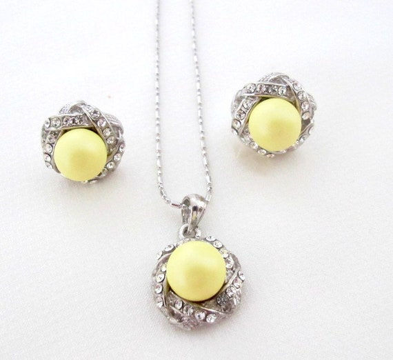 Pearl Pendant Jewelry, Wedding Pearl  Pendant jewelry,Yellow Pearl Jewelry,,Bridesmaid jewelry set, Yellow Pendant jewelry Free Shipping USA