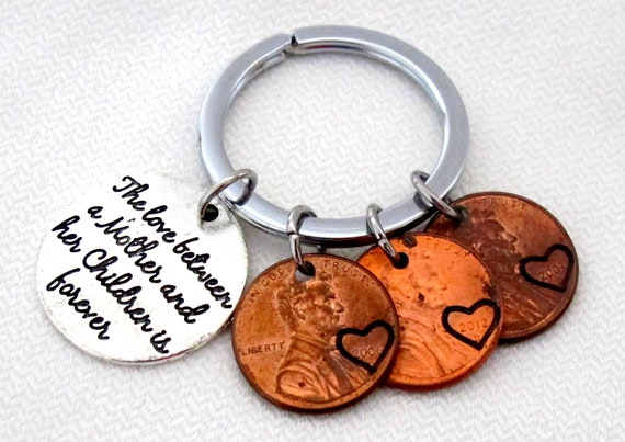 MOTHER'S DAY GIFT,Father's Day Gift,Personalized Penny Keychain,Gift from children,Paretns gift,Gift for Grandma,Gift for Dad,Gift for Nanny