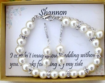 Wedding Bracelet,Bridal Pearl Bracelet,Rhinestone and Pearl Bracelet,Bridesmaid Gift,Cubic zirconia Earrings,Wedding Gift, Free Shipping USA