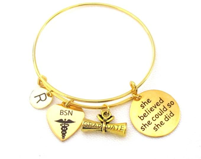 Nurse practitioner graduation bracelet, Physical Therapist Assistant Gift,Graduation bracelet,Medical Gifts,She believed bracelet,Nurse Gift