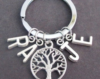 Family Tree Key Chain,Personalized Family Key Ring with Initials,Mother gift,Christmas gift for her,Tree of Life Keychain,Free Shipping USA