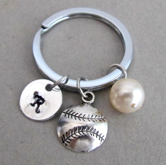 Baseball keychain, Softball keychain, number keychain, personalized keychain, sports keychain Coach Gifts - key ring Free Shipping In USA