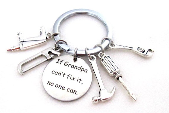 Grandpa Keychain,Grandpa Gift,If Grandpa Can't fix it no one can, Father's Day gift,Hand Tools Keychain,Gift for Granddad, Free Shipping USA