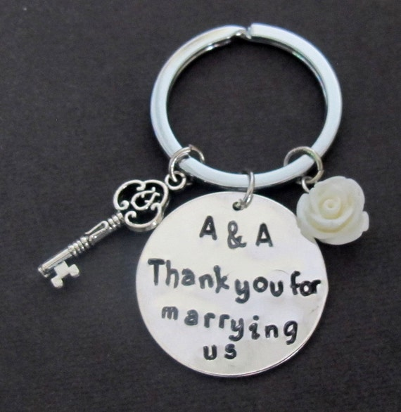Thank you for marrying us, gift for wedding officiant, for friend priest to marry us,One Who United Us Keyring,Free Shipping In USA