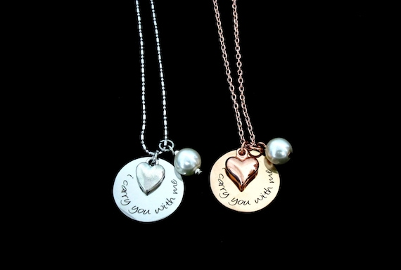 I Carry You With Me Necklace,  Miscarry Necklace, Memory Necklace, Keepsake jewelry, Miscarriage Remembrance -Personalized Jewelry,In memory