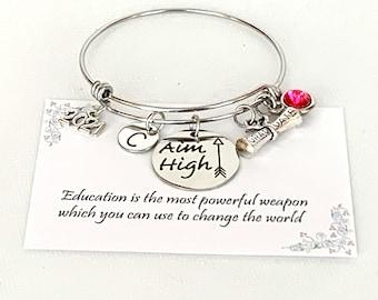 Graduation Gift, Inspirational Graduation Bracelet,,Personalized Graduation Bracelet,Graduation Degree,grad gift for her,Inspirational gift,
