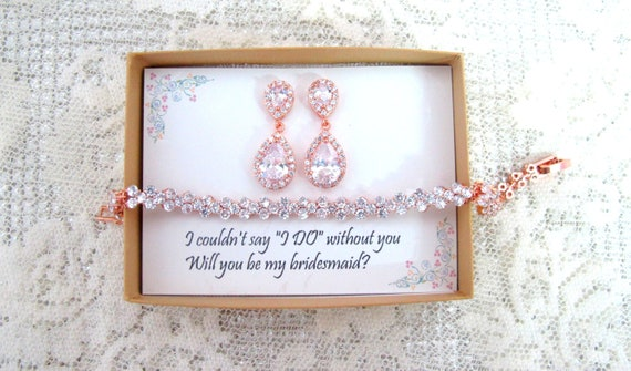 Bridesmaid gift set, Tear drop bridesmaid earrings, Bridal Earrings, CZ Bracelet, Cubic Zirconia Earrings, Wedding Jewelry Set Rose Gold