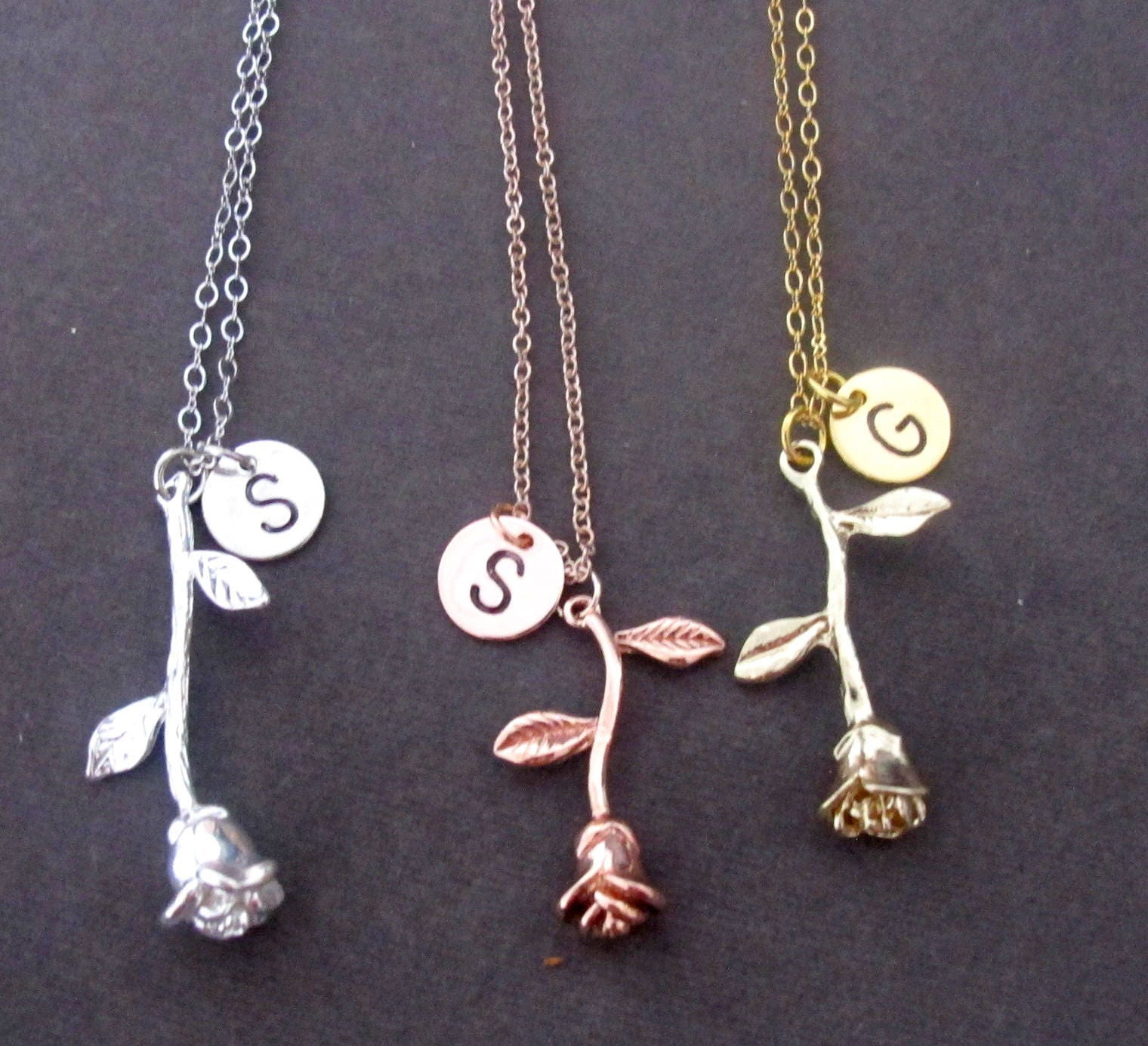 9b17da92a3b6 Rose Necklace Rose Gold Initial Necklace Rose Gold Rose Charm ...