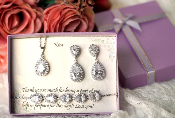 Personalized bridesmaid earrings, Wedding earrings, CZ  tear drop earrings, Bridal party gift, Bridesmaid proposal gift, Bridesmaid earrings