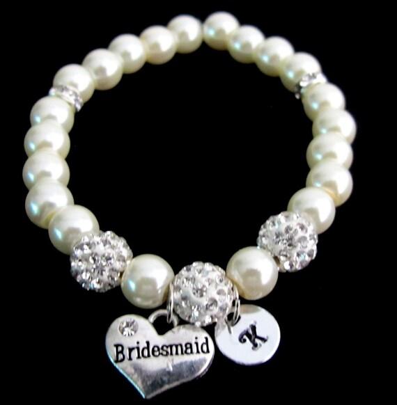 Bridesmaid Pearl Bracelet,Personalized bridesmaid bracelet bridesmaid gift, Initial bracelet,wedding gift Paveball bracele Free shipping USA