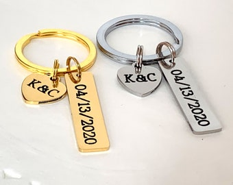 Couples Keychain, 2 Two Initials Keychain,Date and Initial Key Chain,Couples Jewelry,Heart Charm Keychain,Anniversary Gift,Free Shipping USA