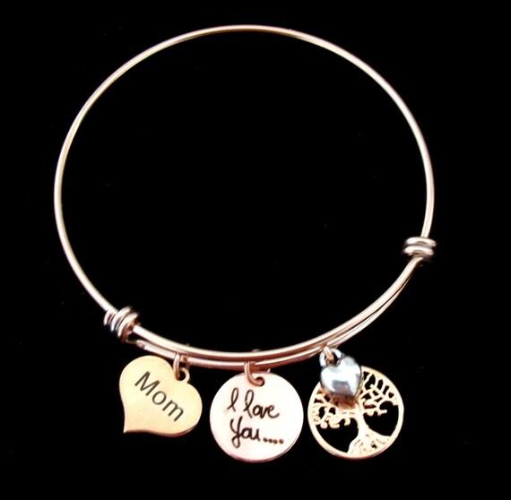 Family Tree Bangle Bracelet,Gift for Mother,Gift for Mom,Mother in Law Gift,Rose Gold Tree of Life Bracelet,Grandma gift,Free Shipping USA
