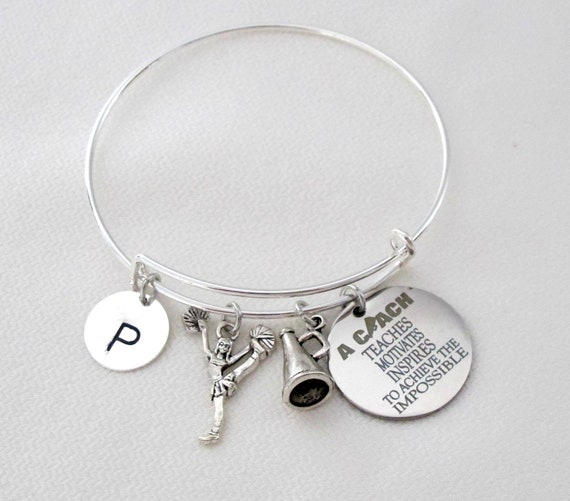 Cheer Coach gift,Personalized Cheer Coach Bracelet,Cheerleading Coach Bangle, Cheerleader Coach gift, Cheer Coach Jewelry, Free Shipping USA