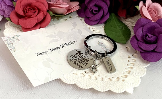 Nurse Appreciation Gift Keychain, Work Team Gift, Thank you Gift, RN Gift Stethoscope & Syringe Charm Keychain Employee Gift Coworker Gift