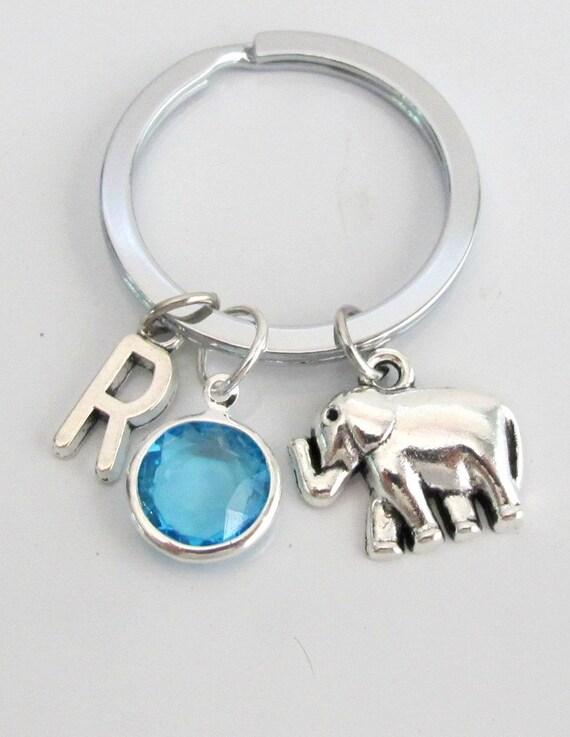 Elephants Keychain, animal keychain, personalized keychain gift, initial keychain, customized, monograminitial keychain, birthstone keychain