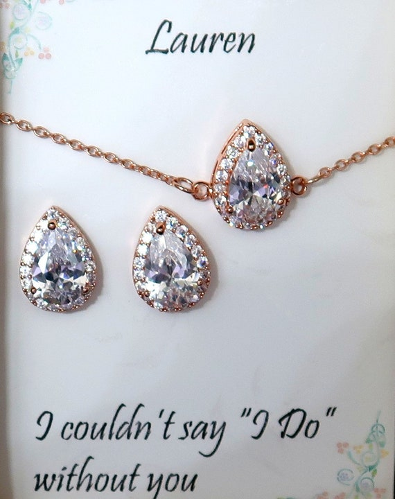 Bridesmaid Gift,Rose Gold Wedding Jewelry,Bridesmaid Earring Set,Cubic Zirconia,Teardrop Earrings,Necklace,CZ Bracelet Set,Free Shipping USA