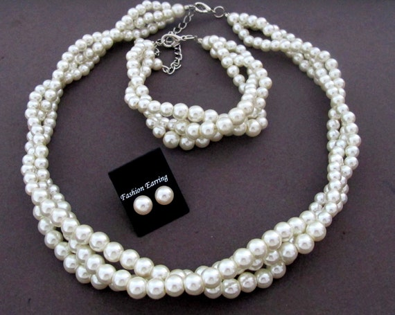 White Pearls Necklace Set,Bridal Jewelry Set,Bridesmaid Jewelry Set,Twisted braided pearl necklace set,Wedding jewelry set,Free Shipping USA