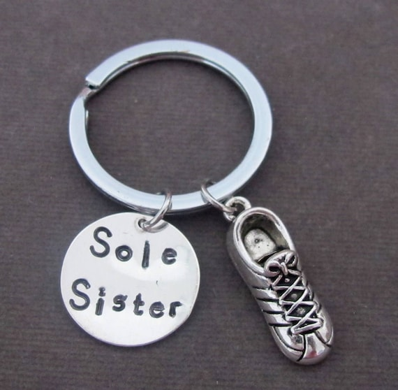 SOLE SISTER Key Chain, Running Keychain,cross country gift,Hand Stamped Runner Key Chain,sole sister gift,Running Partner,Free shipping USA