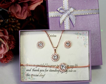 Bridesmaid CZ Earrings gift Set, Custom bridesmaid gifts, cz necklace, Bracelet set, Wedding earrings, Cubic Zirconia, Wedding gift jewelry