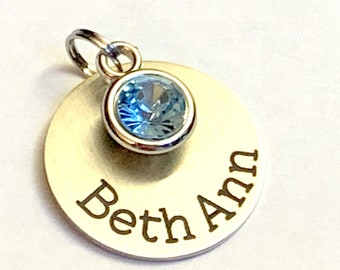 Name charm with birthstone, Personalized name or date, Keychain, Add On Name And Or Birthstone Charms Personalized Charm for Necklace