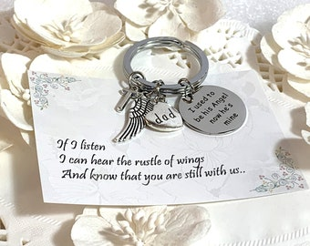 I used to be his angel now he is mine personalized Keychain,In memory of Dad,Father Memorial Jewelry,Dad Remembrance gift,Free Shipping USA