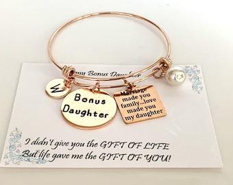 Daughter in law gift,step daughter wedding gift, bonus daughter gift,Love made you my daughter bracelet,Rose gold bracele ,Free Shipping USA