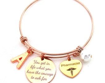 Pharmacist Gift,Pharmacist Bracelet,  Pharmacist Graduation Jewelry,Personalized Pharmacist Bangle, Rdh,DH,lpn,NP,bsn,Rdh, Free Shipping USA