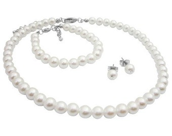 Baptism Pearl Necklace White Pearl Jewelry Set White Pearls Set White Necklace Stud Earrings Bracelet Flower girl Gift  Free Shipping In USA