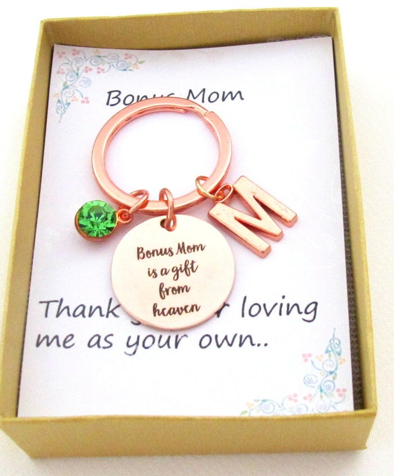 Bonus Mom Wedding gift,Bonus Mom gift keychain,Step Mom gift,Foster Mom gift,Bonus Mom Quote Jewelry,Mother In law gift,Free Shipping In USA