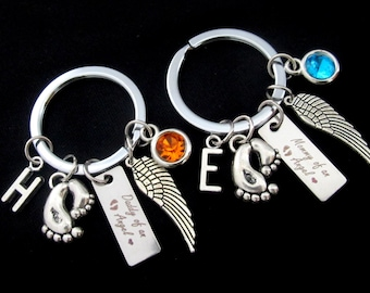 Custom Miscarriage Loved Keyring, Baby Angel Keychain Set, Mommy's Keychain Daddy's Keychain, Infant Loss Miscarriage Keychain, Memorial