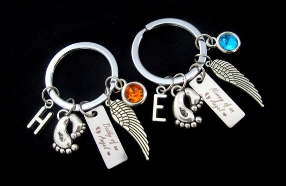 Custom Miscarriage Loved Keyring,Baby Angel Keychain Set, Mommy's Keychain Daddy's Keychain,Infant Loss Miscarriage Keychain,Memorial