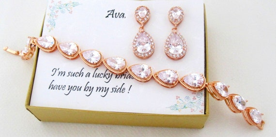 Rose gold Bridesmaid Earrings gift set, Bridesmaid gifts, Cubic Zirconia, Rose gold Teardrop Earrings, Bridesmaid gift set, Bridal Jewelry