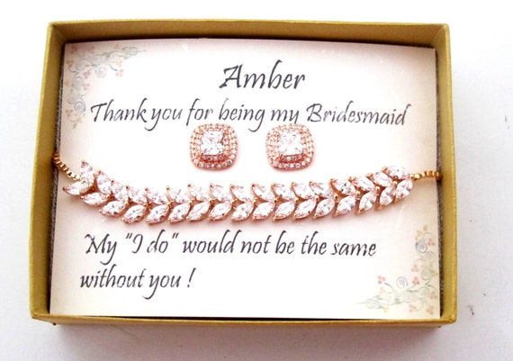Bridesmaid bracelet earrings set, Cubic Zirconia bridesmaid gift, Bridesmaid Jewelry Set, Bridesmaid Earrings gift, Rose gold Jewelry set