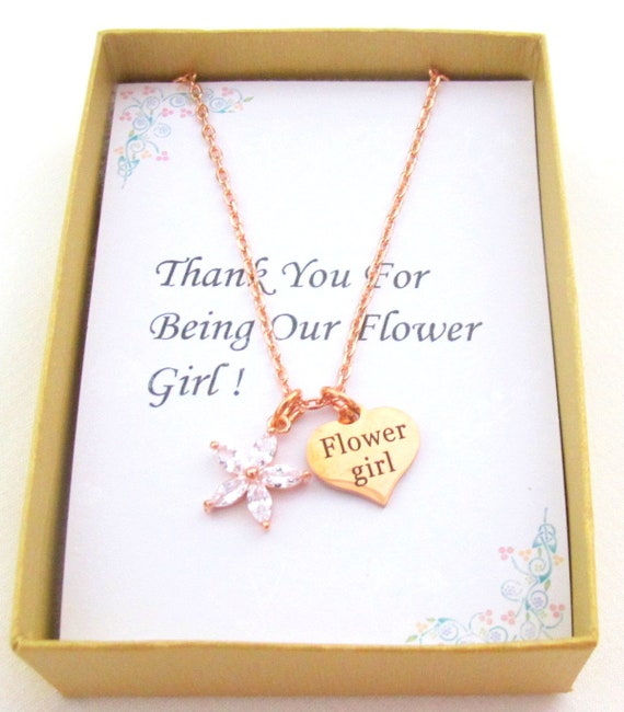 CZ Rose Gold Flower Girl Necklace,Flower girl Ask gift,Will you be my Flower girl,Junior Bridesmaid,Little girls  jewelry, Free Shipping USA
