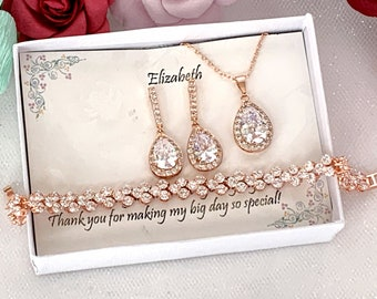 Custom Personalized CZ Bridesmaid gift, Rose Gold Wedding set, Bridesmaid Gift, Bridal Earrings, Necklace Bracelet Set, CZ Bridal party gift