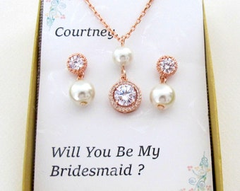 Pearl personalized rose Gold Bridesmaid Gift Set, Bridesmaid Earrings Necklace, Bridesmaid Jewelry,  Bridal Jewelry Bridesmaid, Pearl Cz set