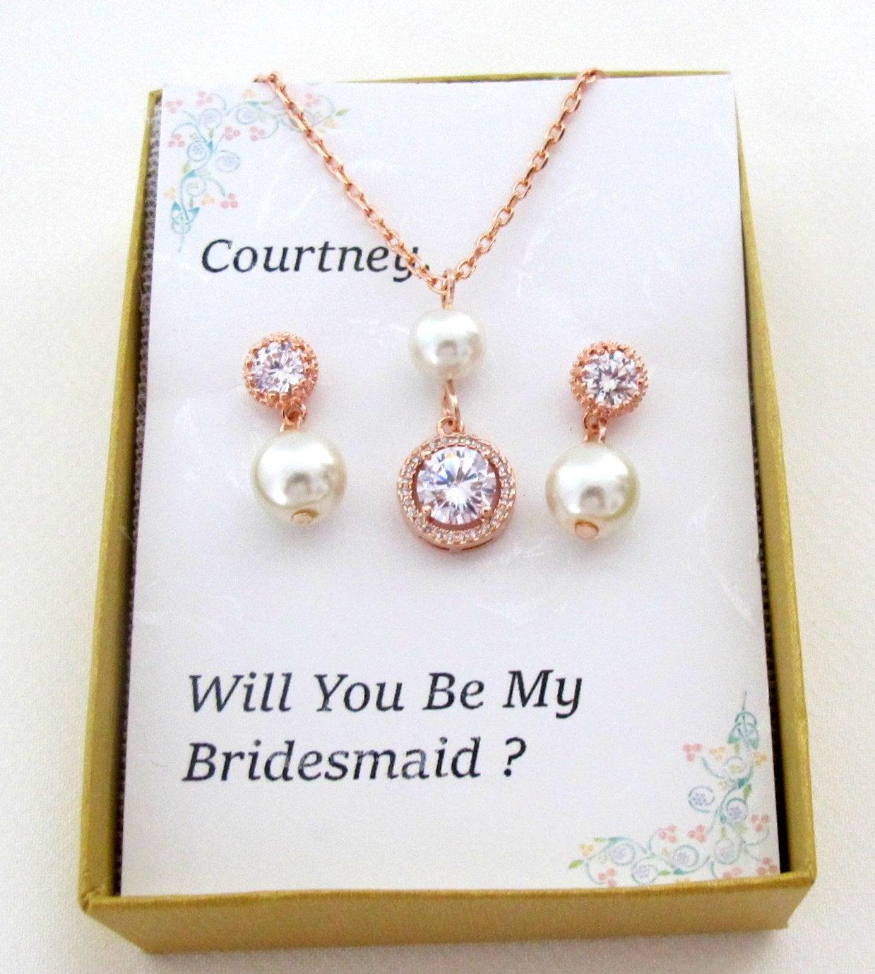 Rose Gold Bride Jewellery Bridal Jewellery Set Bridesmaid Jewellery Bridesmaid Gift Pearl Wedding Earrings /& Necklace