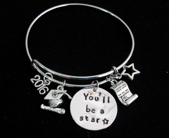 You Will Be a Star Graduation Bangle Bracelet, Personalized Graduate Bracelet, Graduation Bracelet Success Jewelry Free Shipping USA